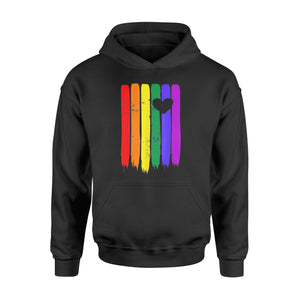 Vintage Distressed Gay Pride LGBT Rainbow Flag Heart Shirt - Standard Hoodie