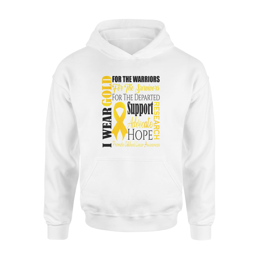 Family Childhood Cancer Awareness Gold For A Child Fight - Standard Hoodie