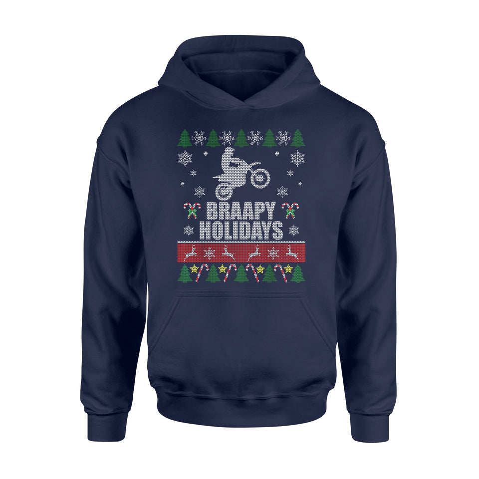 Christmas gift idea Braapy Holidays Motocross Ugly T-Shirt - Standard Hoodie