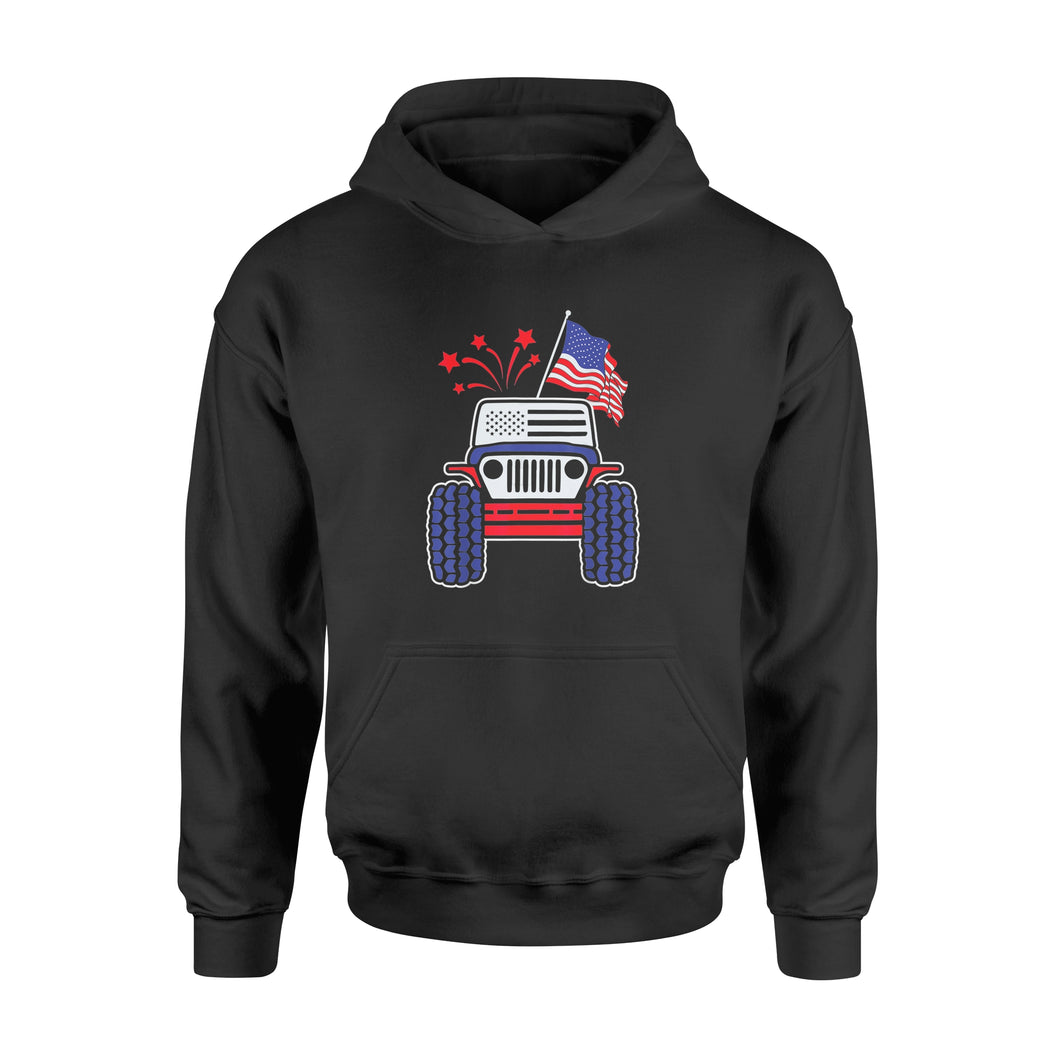 4th of July Jeep T-Shirt Jeep with American Flag & Firework Shirt - Standard Hoodie