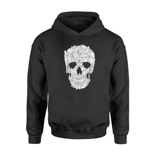 Cat Skull T-Shirt - Halloween Gift Idea Kitty Skeleton  Costume - Standard Hoodie