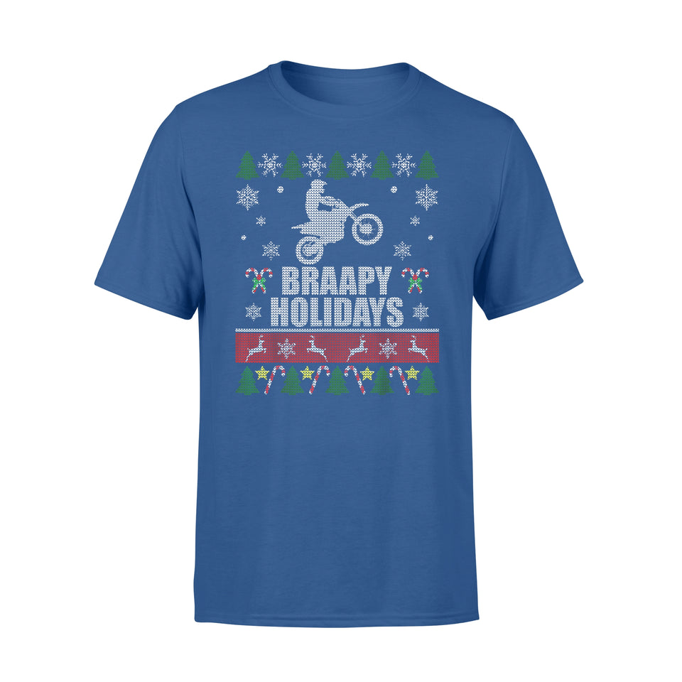 Christmas gift idea Braapy Holidays Motocross Ugly T-Shirt - Standard T-shirt