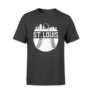 St. Louis Baseball Skyline Retro Missouri Gift - Premium T-shirt
