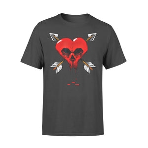 Funny Gift Idea Gothic Skull Heart Valentines Day - Standard T-shirt