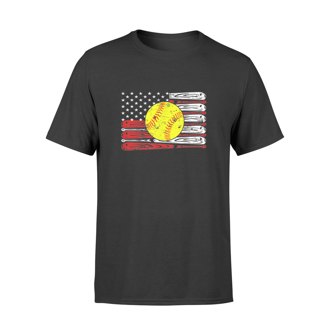 Vintage Softball American Flag 4th Of July - Premium T-shirt
