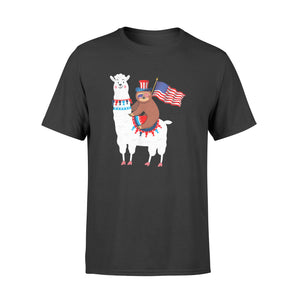4th of July Sloth Riding Llama Funny Sloth T-shirt - Standard T-shirt