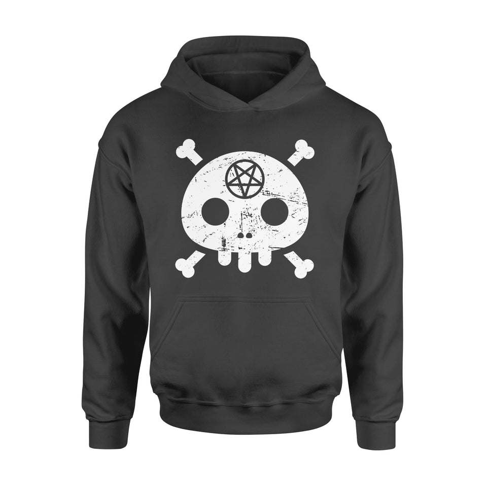 Funny Gift Idea Cute Skull and Satanic Pentagram - Standard Hoodie