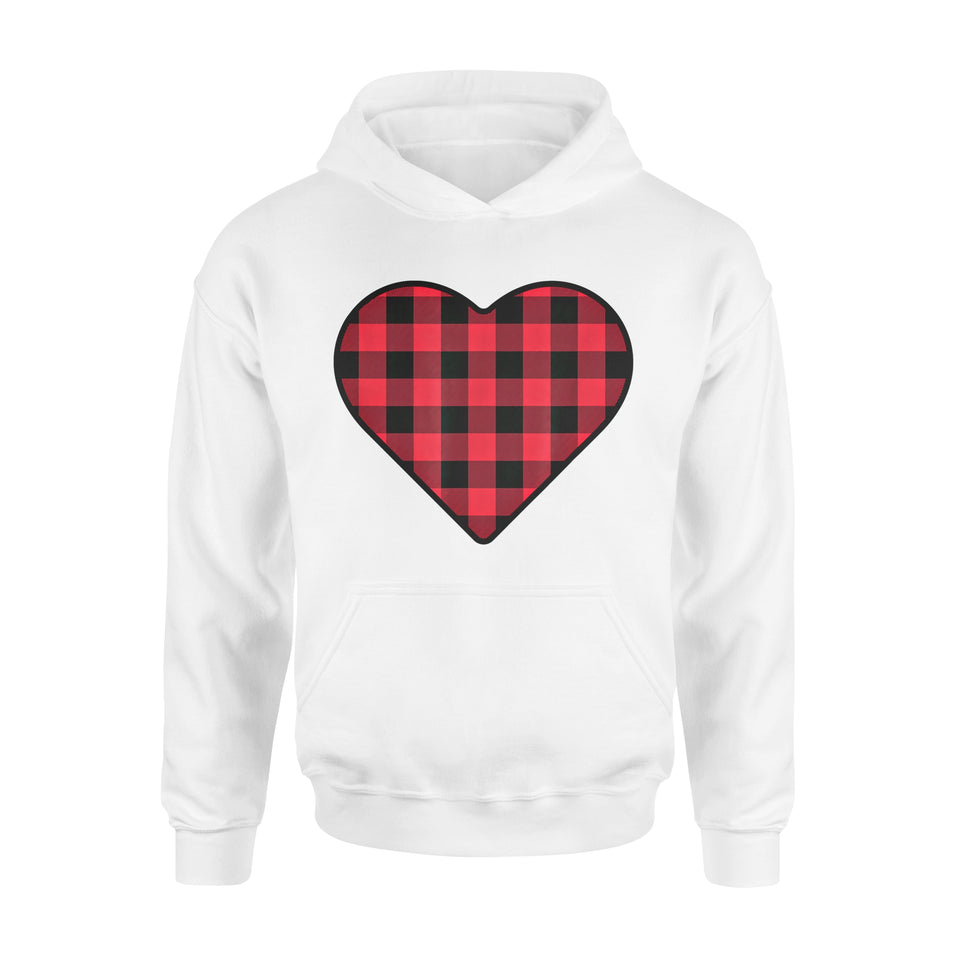 Funny Gift Idea Plaid Valentines Day Heart - Standard Hoodie