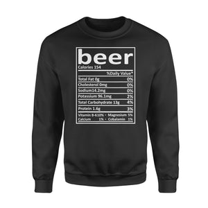 Special Days gift idea Beer Nutrition Thanksgiving Costume Food facts T-Shirt - Standard Fleece Sweatshirt