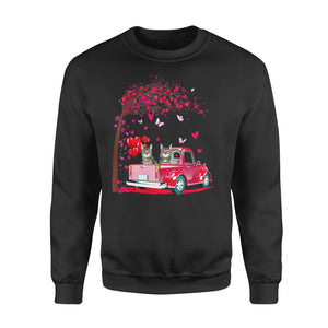 Cat Gift Idea - Pink Truck Heart Tree Valentines Day - Standard Fleece Sweatshirt