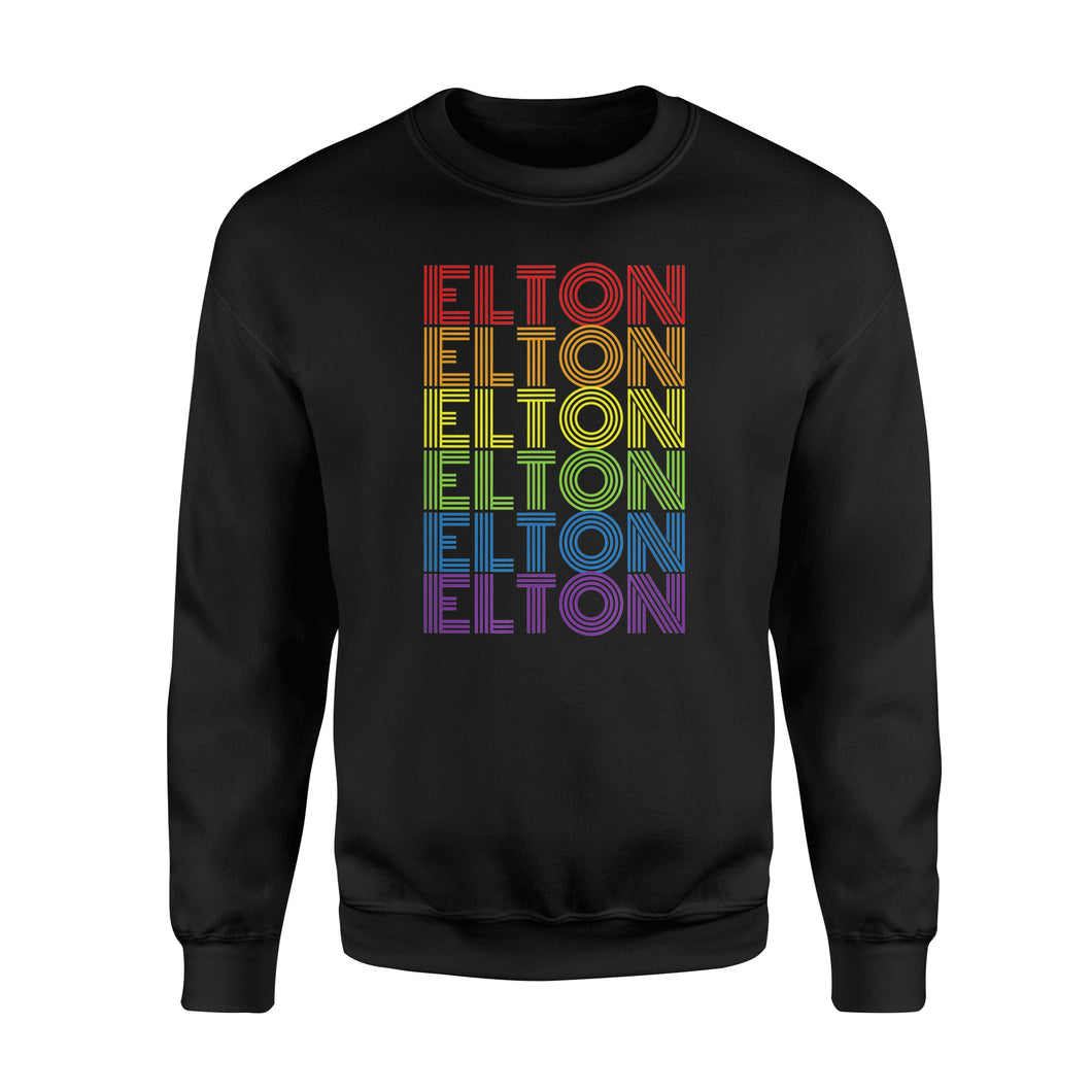 Elton T Shirts Retro Style Elton Rainbow - Premium Fleece Sweatshirt