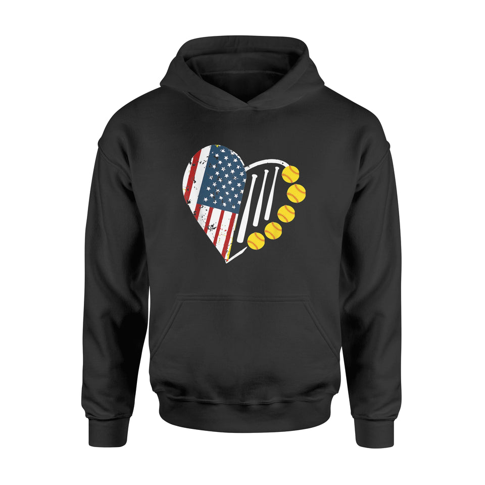 4th of July Softball American Flag T Shirt - Standard Hoodie