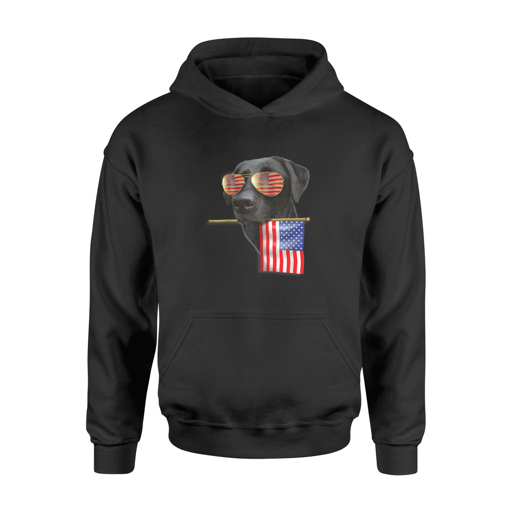 4th of July Shirt Fun American Flag Labrador Dog Shirt - Standard Hoodie