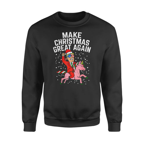 Christmas gift idea Make Xmas Great Again Santa Trump Unicorn Us T-Shirt - Standard Fleece Sweatshirt