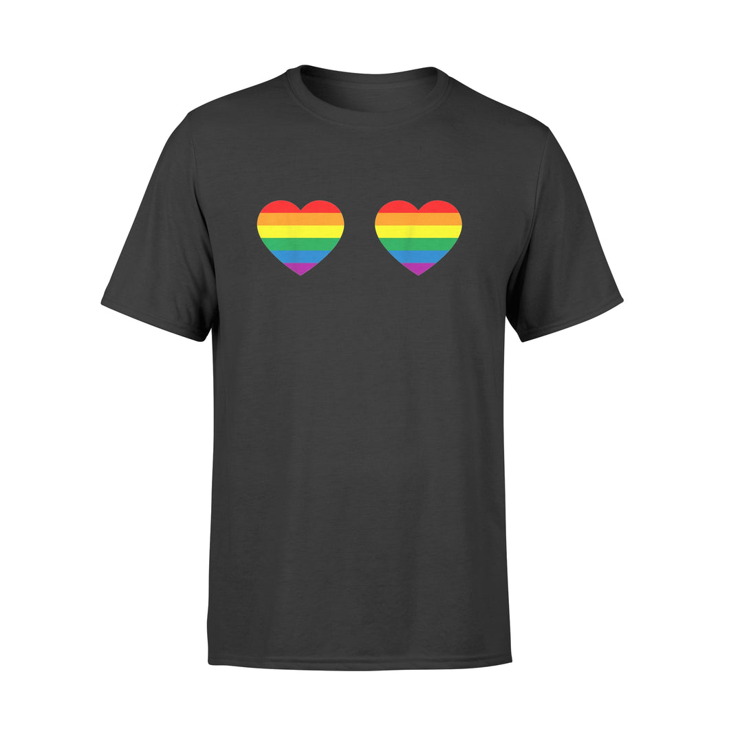 Lgbt Pride Support Gay Pride Rainbow Heart Boobs - Standard T-shirt