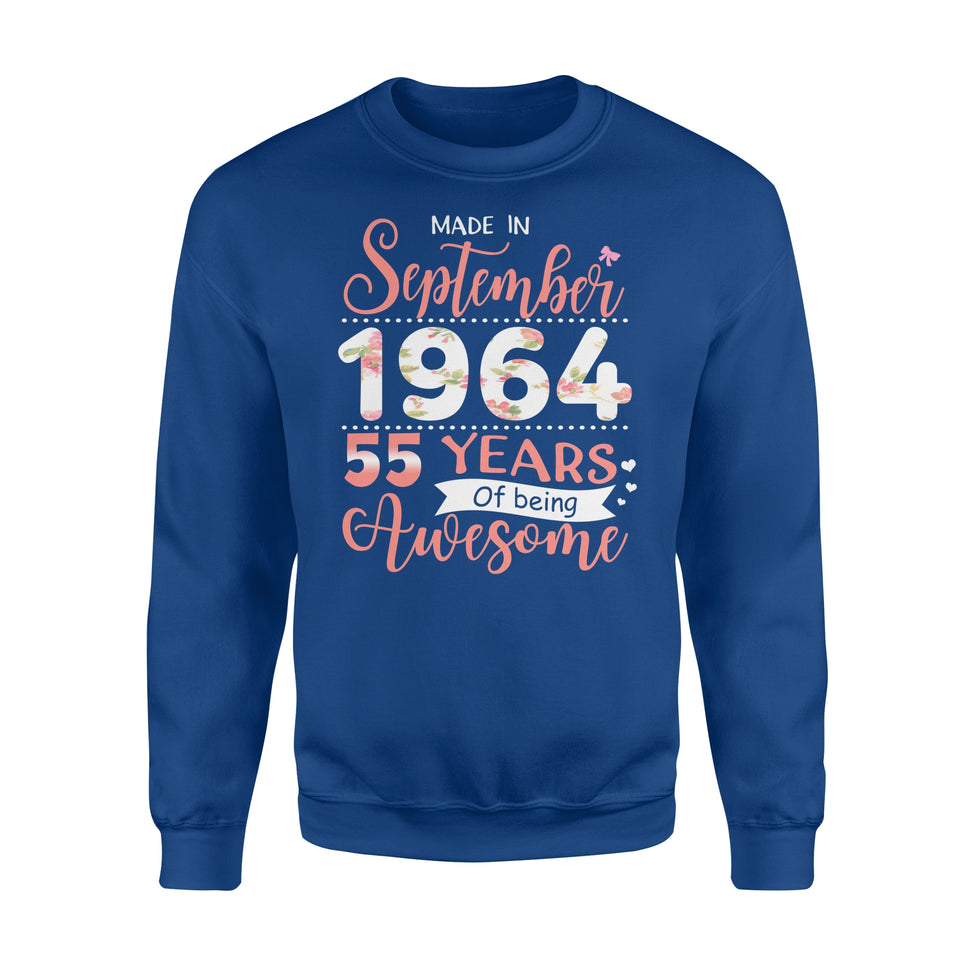 55th Birthday Gift Idea Made In September 1964 55 Years Of Being Awesome - Premium Fleece Sweatshirt