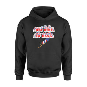 4th of July Just Here to Bang Funny Fireworks T Shirt - Standard Hoodie