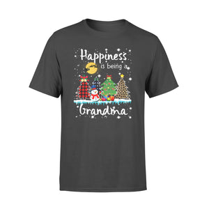 Christmas gift idea Happiness Is Being A Grandma Xmas Tree Leopard Plaid T-Shirt - Standard T-shirt