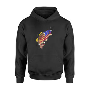 Bass Fishing American Flag Fish 4th Of July Shirts - Standard Hoodie