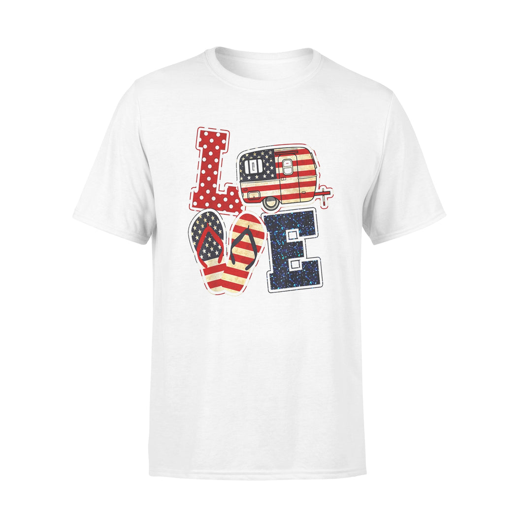 4th of July flip flop camper Shirts Love camping USA flag Shirt - Standard T-shirt
