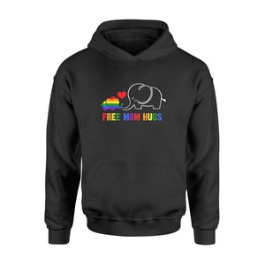 Free Mom Hugs Shirt Pride Lgbt Mom Elephant Rainbow - Standard Hoodie