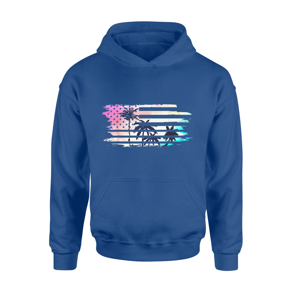 Holidays Gift Idea Vintage Tropical Summer - Usa Flag Beach Palm Tree - Standard Hoodie