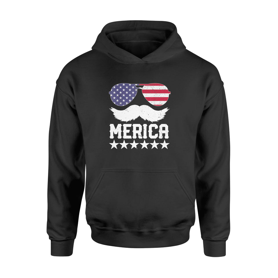 4th of July - Merica America Flag Mustache - Standard Hoodie