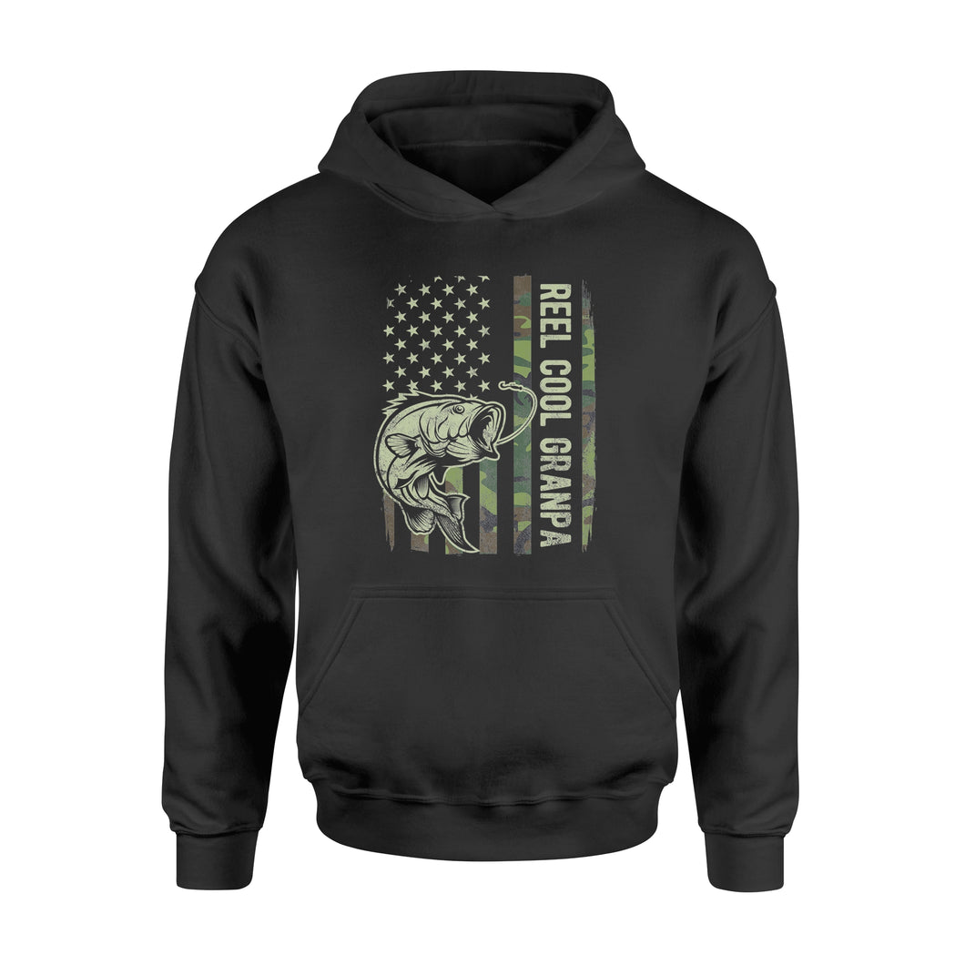 Reel Cool Grandpa Camouflage American Flag Fathers Day - Standard Hoodie