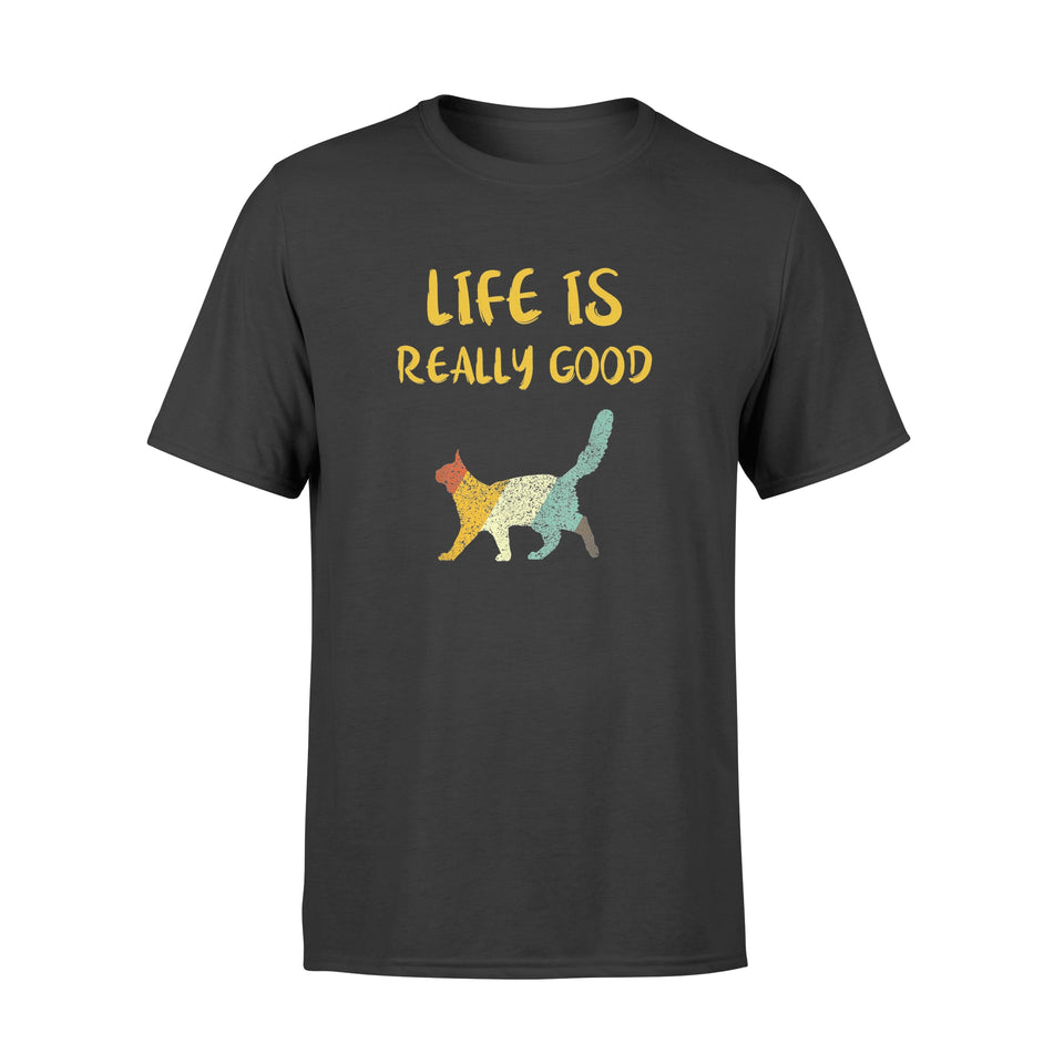 Vintage Cat Life Is Really Good Retro Cat T-shirt - Standard T-shirt