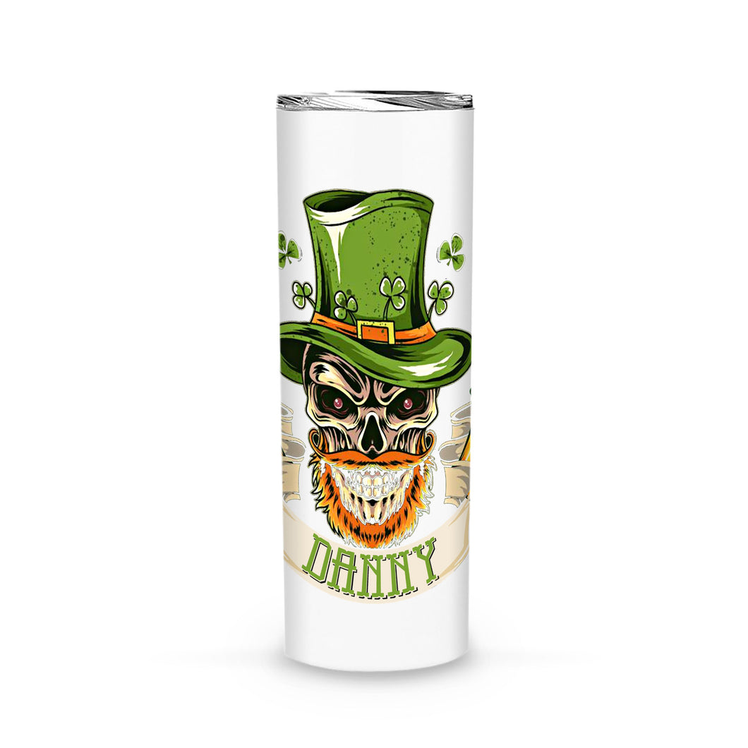 Personalized St. Patrick Gift Idea - Coolest Skull With Beer - Tumbler