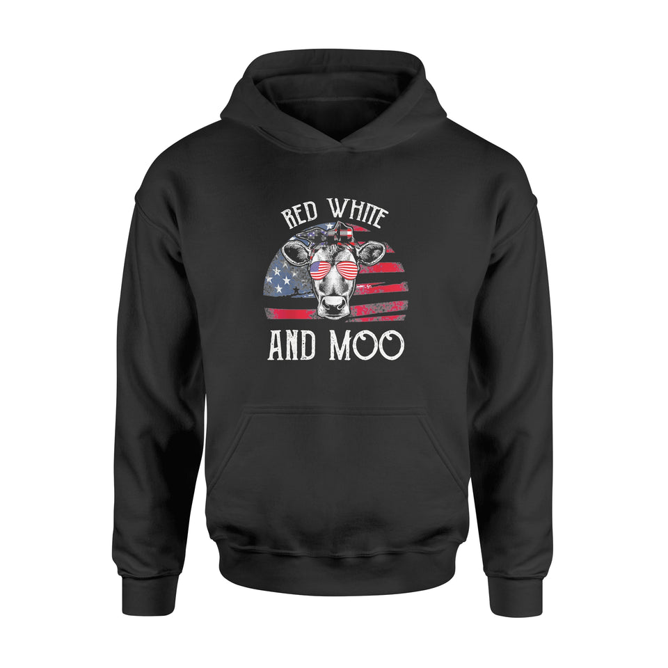4th of July Cow USA Flag Red White And Moo Shirt - Standard Hoodie