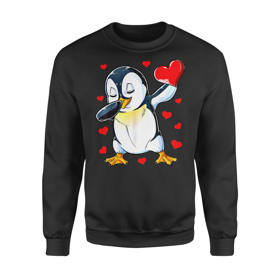 Funny Gift Idea Penguin Heart Valentines Day - Standard Fleece Sweatshirt