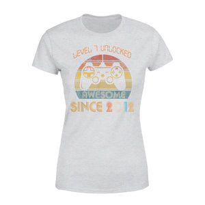 7th Birthday Gamer Gift Idea Level 7 Unlocked Awesome Since 2012 7 Years Old - Premium Women's T-shirt