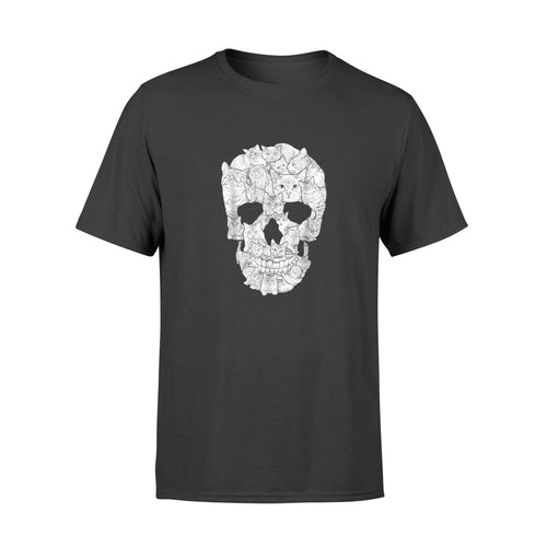 Cat Skull T-Shirt - Halloween Gift Idea Kitty Skeleton  Costume - Standard T-shirt