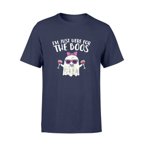 Halloween Gift Idea Im Just Here For The Boos Ghost Wine Costume - Standard T-shirt