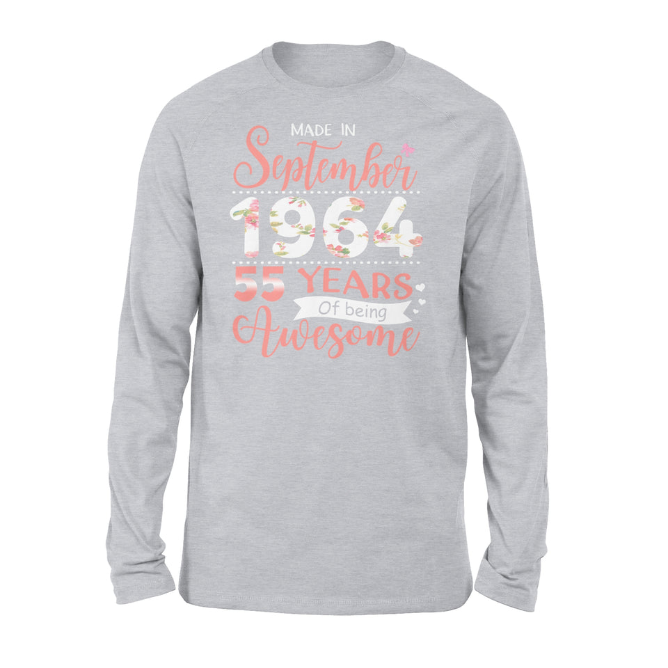 55th Birthday Gift Idea Made In September 1964 55 Years Of Being Awesome - Premium Long Sleeve