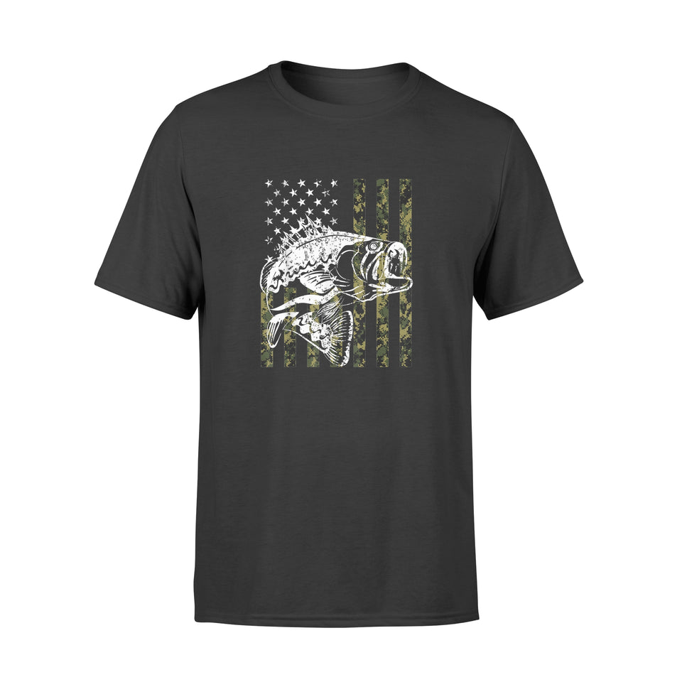 Fishing Tshirt Camouflage USA Flag for Bass Fisherman Gifts - Premium T-shirt