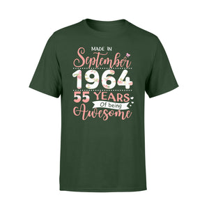 55th Birthday Gift Idea Made In September 1964 55 Years Of Being Awesome - Premium T-shirt