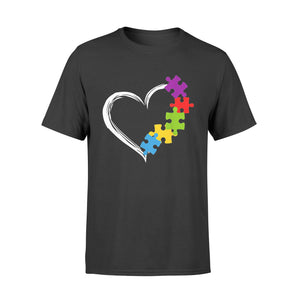 Autism Awareness Shirt Love Ribbon Heart Puzzle T-Shirt - Standard T-shirt
