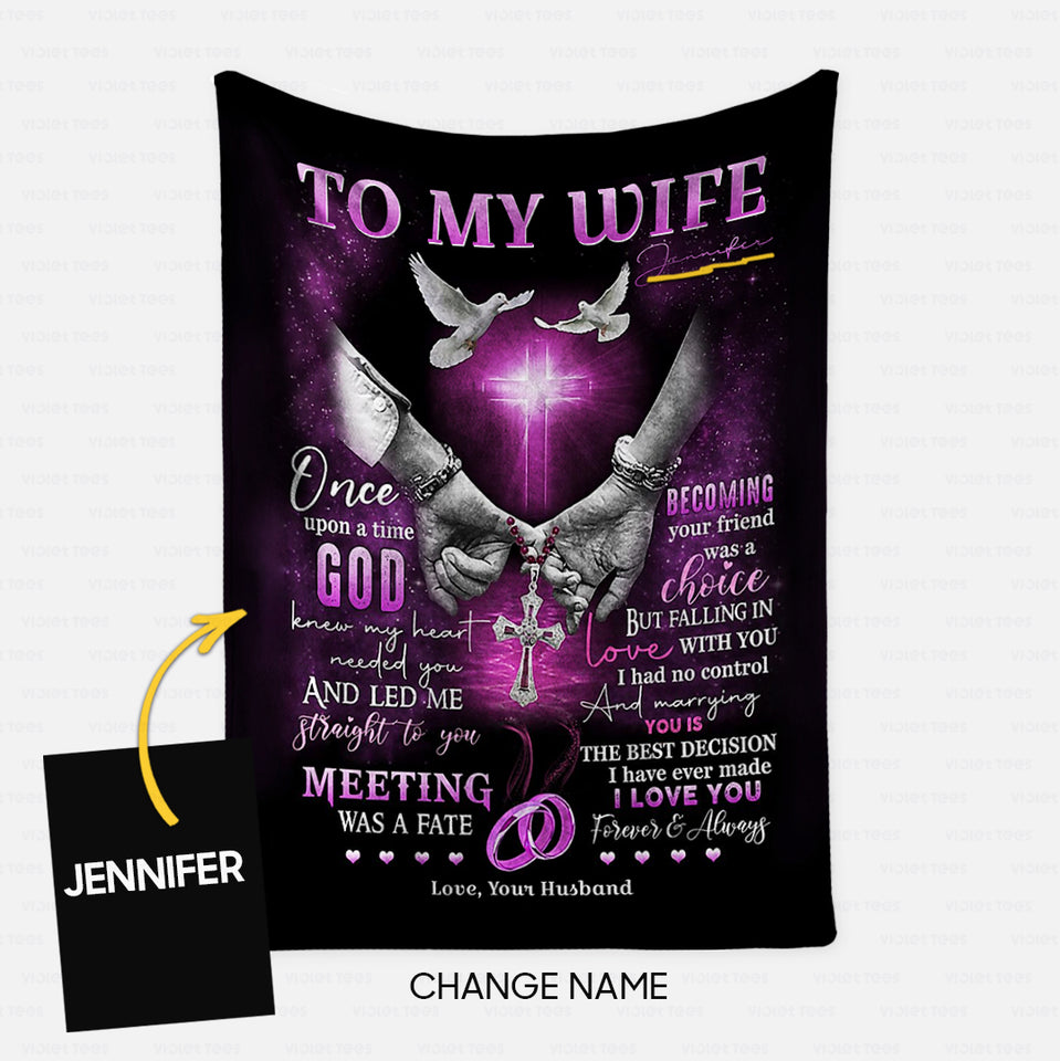 Personalized Blanket Gift Idea - To My Wife, One Upon A Time God For Your Wife - Fleece Blanket