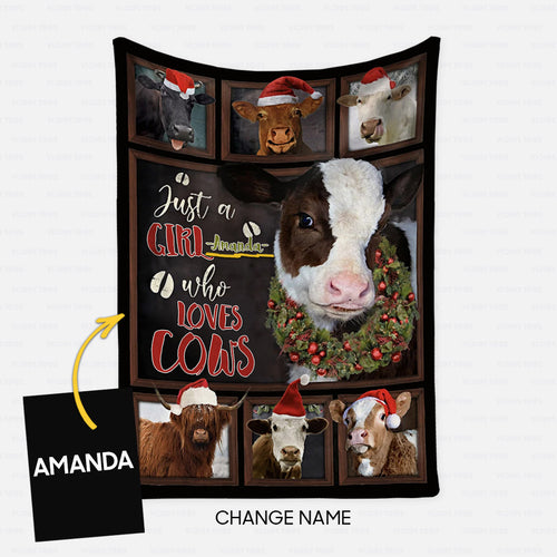 Personalized Christmas Blanket Gift Idea - Just A Girl Who Loves Cows - Fleece Blanket
