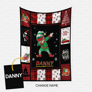 Personalized Christmas Blanket Gift Idea - Funny Elf Dabbing For Funny People - Fleece Blanket
