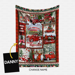 Personalized Blanket Gift Idea - Merry Little Christmas For Red Car Lover - Fleece Blanket