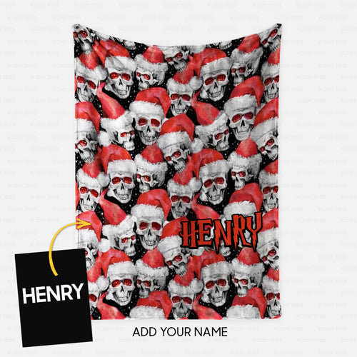 Personalized Christmas Blanket Gift Idea - Skull Santa Pattern For Funny Person - Fleece Blanket
