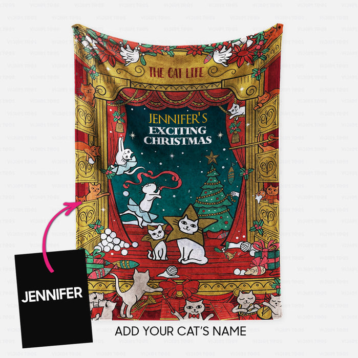 Personalized Christmas Blanket Gift Idea - The Cat Life Exciting Christmas For Cat Lovers - Fleece Blanket