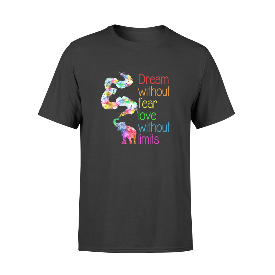 Dream Without Fear Love Without Limits Elephant Lgbt Pride Shirt - Standard T-shirt