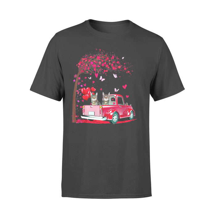 Cat Gift Idea - Pink Truck Heart Tree Valentines Day - Standard T-shirt