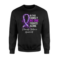 Awareness Cancer Gift Idea - No One Fights Alone - Standard Fleece Sweatshirt