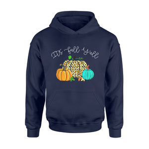 Halloween Gift Idea Fall Y-all Leopard Print Pumpkin Rustic - Standard Hoodie