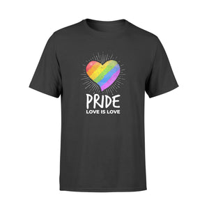 Lgbt Pride Love Is Love Rainbow Heart - Standard T-shirt